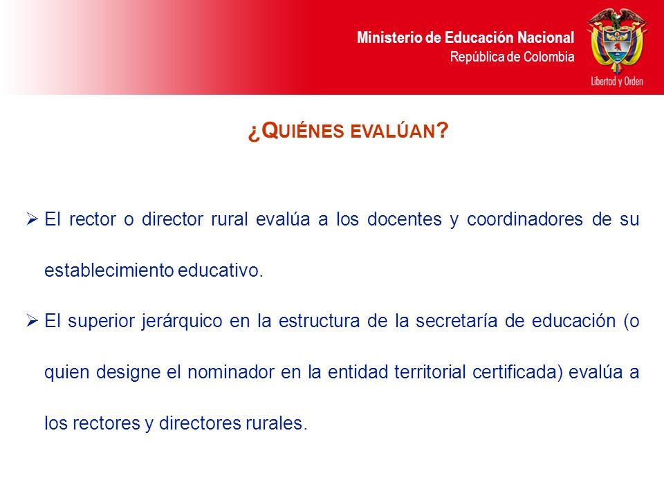 ¿Quiénes evalúan El rector o director rural evalúa a los docentes y coordinadores de su establecimiento educativo.