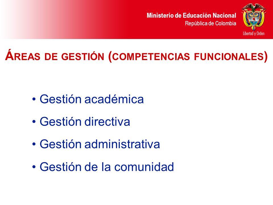 Áreas de gestión (competencias funcionales)