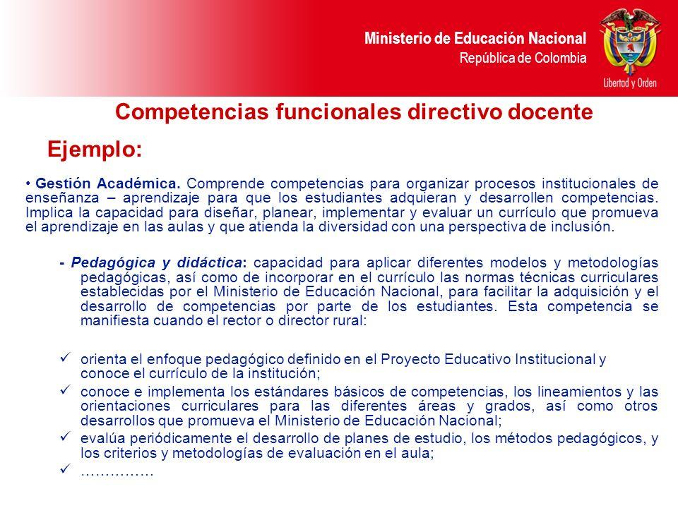 Competencias funcionales directivo docente Ejemplo: