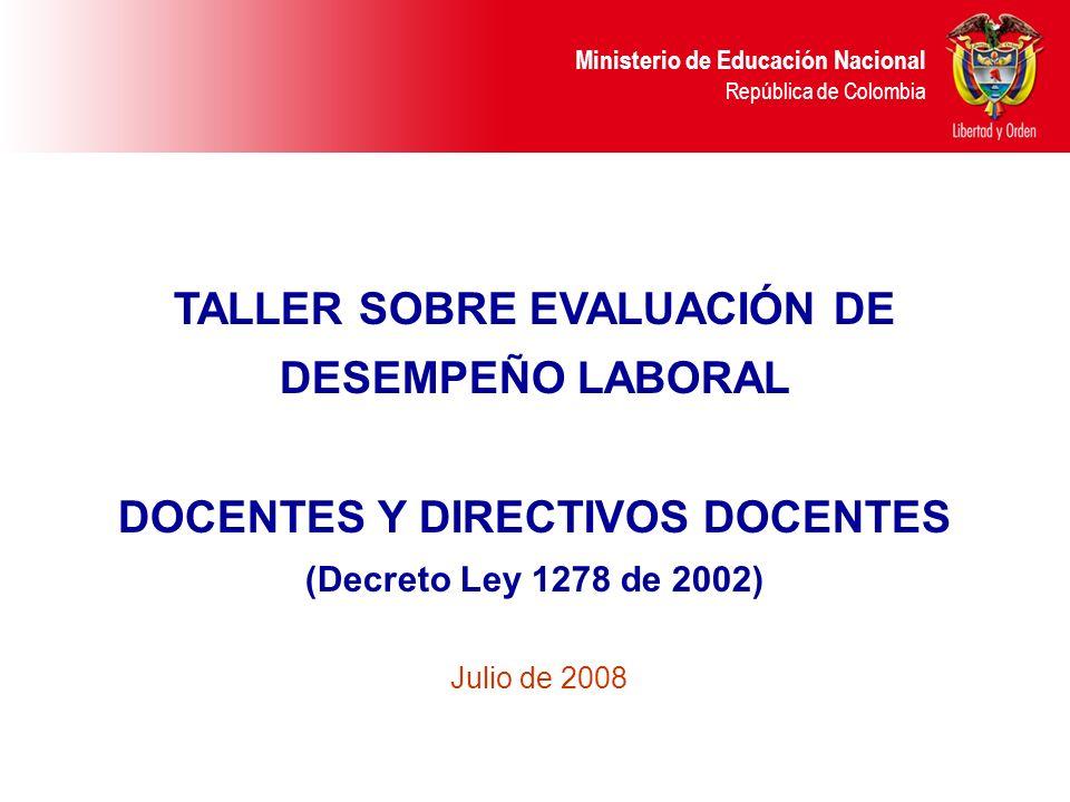 TALLER SOBRE EVALUACIÓN DE DESEMPEÑO LABORAL