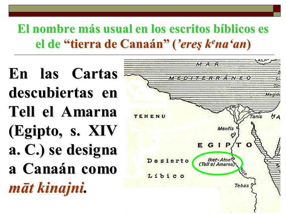 El nombre más usual en los escritos bíblicos es el de tierra de Canaán ('ereş kena'an)