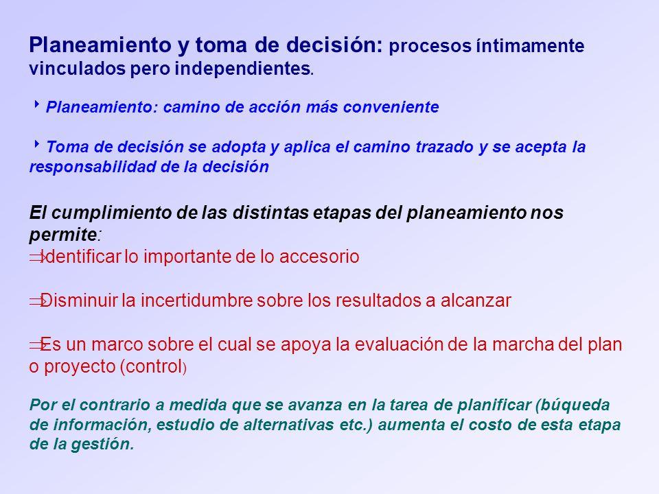 Planeamiento y toma de decisión: procesos íntimamente vinculados pero independientes.