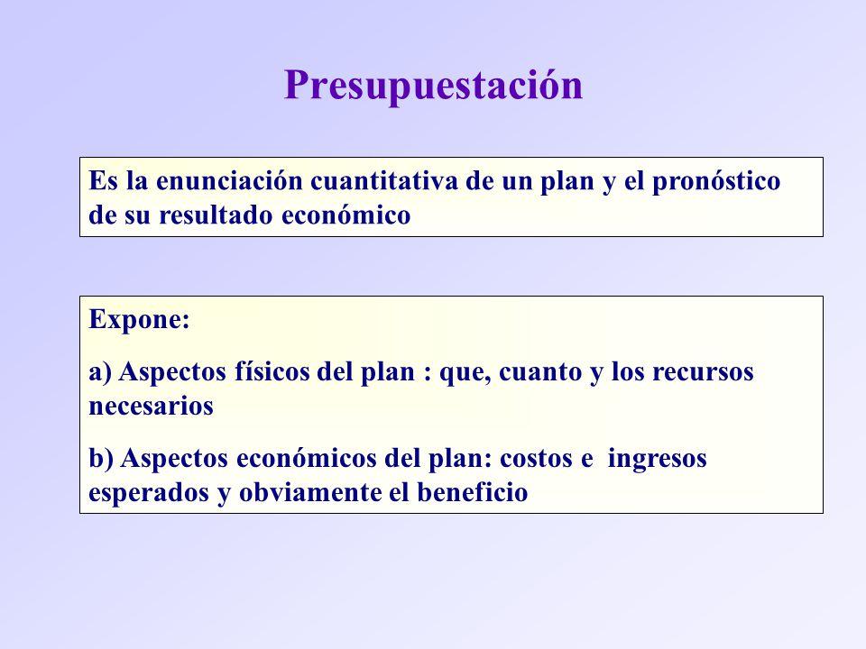 Presupuestación Es la enunciación cuantitativa de un plan y el pronóstico de su resultado económico.
