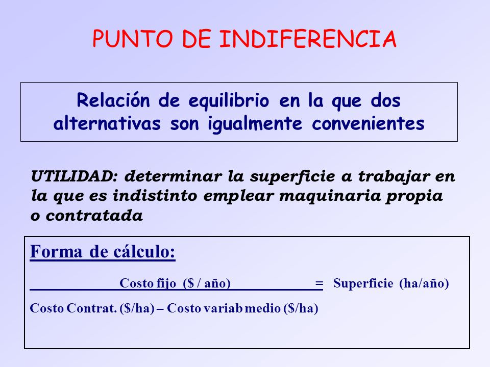 PUNTO DE INDIFERENCIA Relación de equilibrio en la que dos alternativas son igualmente convenientes.