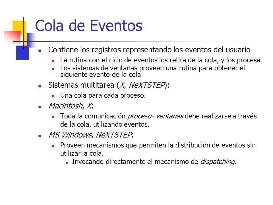 Cola de Eventos Contiene los registros representando los eventos del usuario. La rutina con el ciclo de eventos los retira de la cola, y los procesa.
