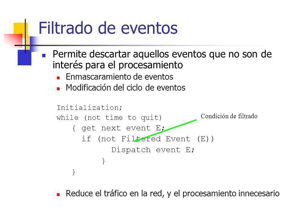 Filtrado de eventos Permite descartar aquellos eventos que no son de interés para el procesamiento.
