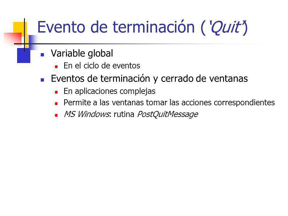 Evento de terminación ('Quit')