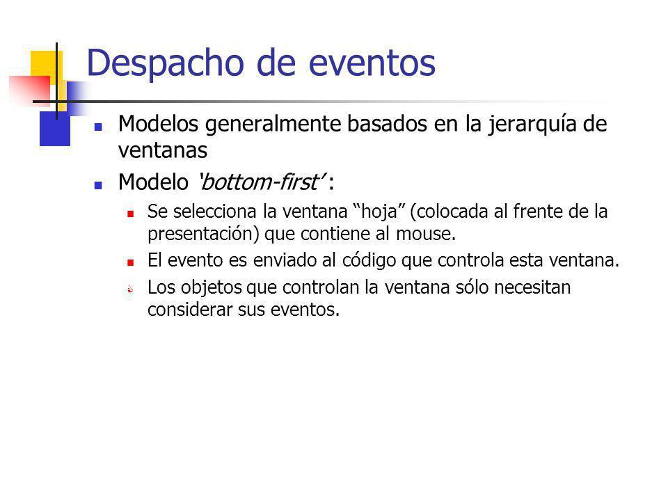 Despacho de eventos Modelos generalmente basados en la jerarquía de ventanas. Modelo 'bottom-first' :