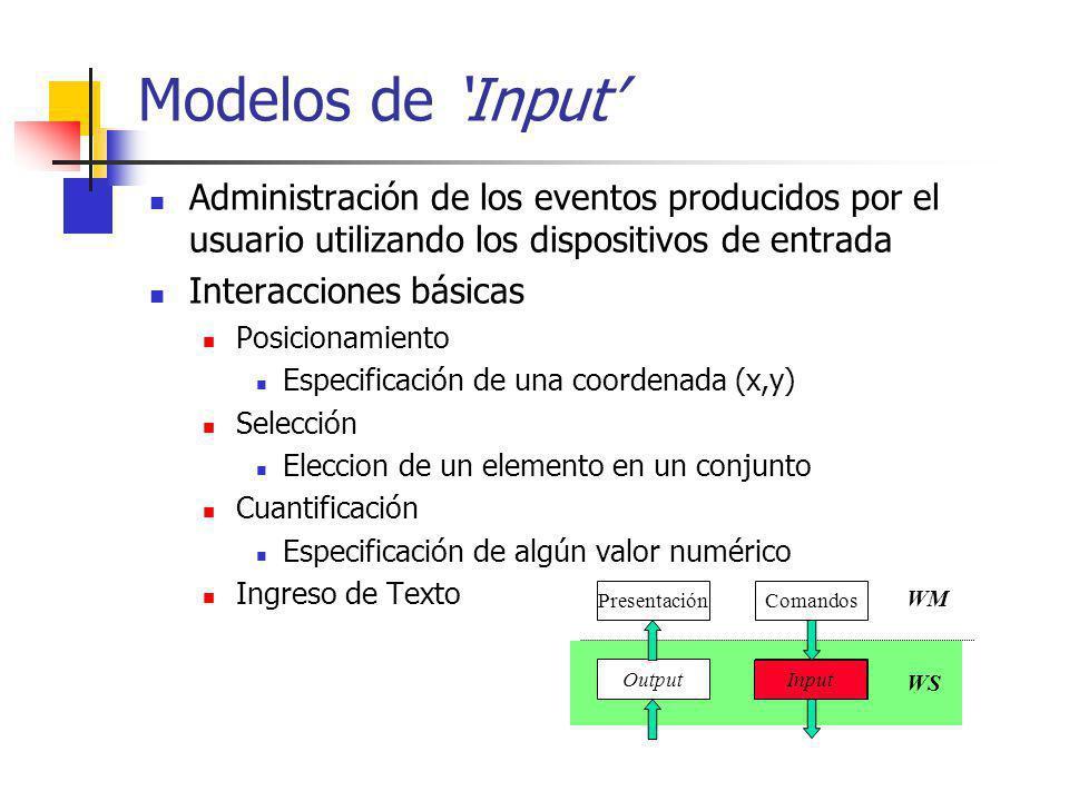 Modelos de 'Input' Administración de los eventos producidos por el usuario utilizando los dispositivos de entrada.