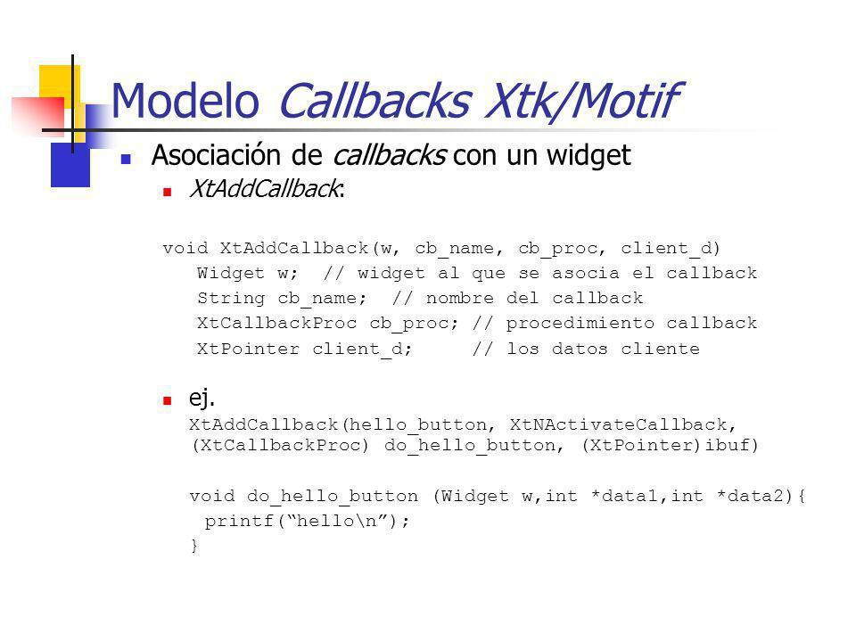 Modelo Callbacks Xtk/Motif