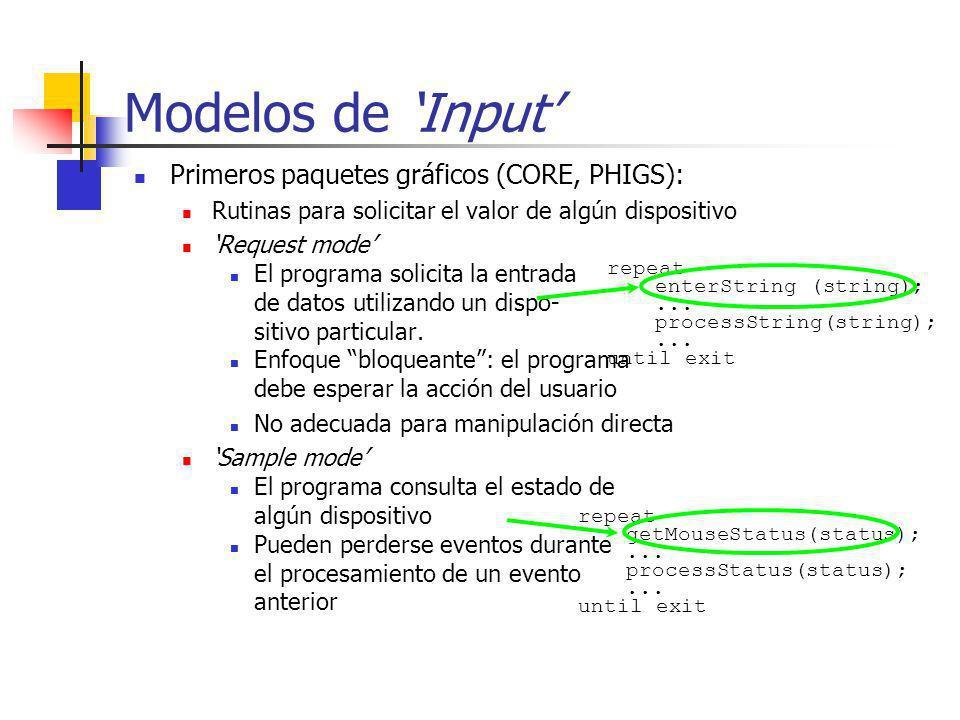 Modelos de 'Input' Primeros paquetes gráficos (CORE, PHIGS):
