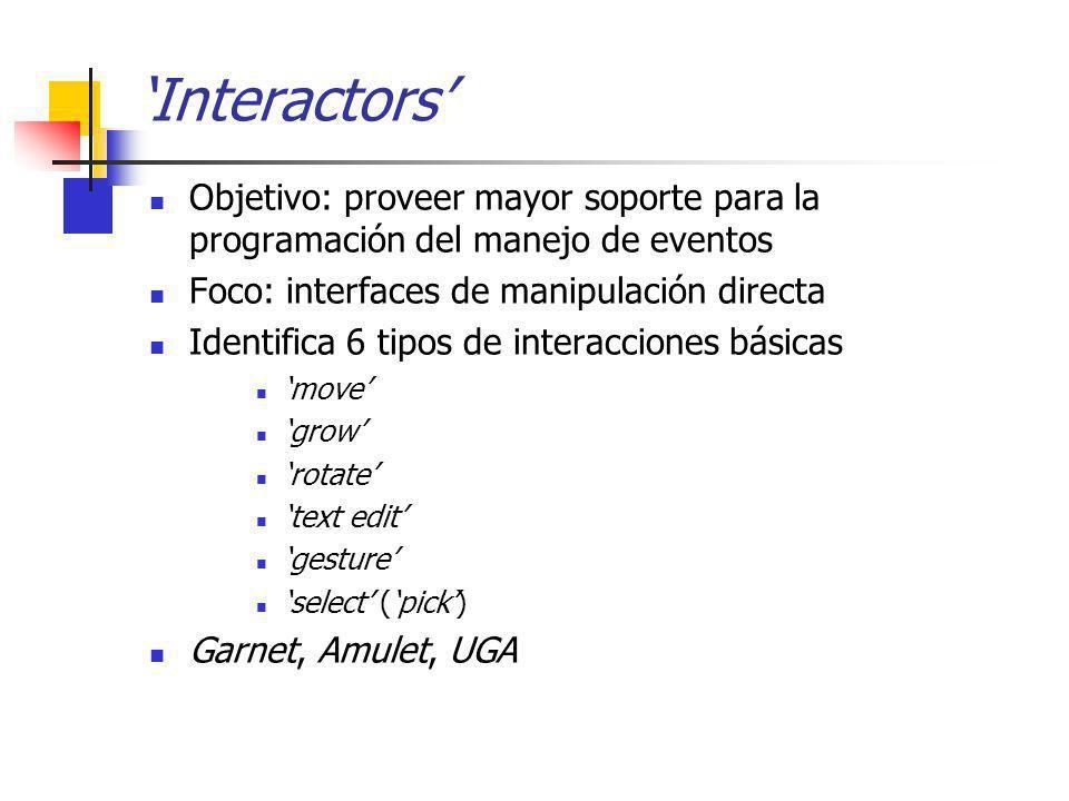 'Interactors' Objetivo: proveer mayor soporte para la programación del manejo de eventos. Foco: interfaces de manipulación directa.