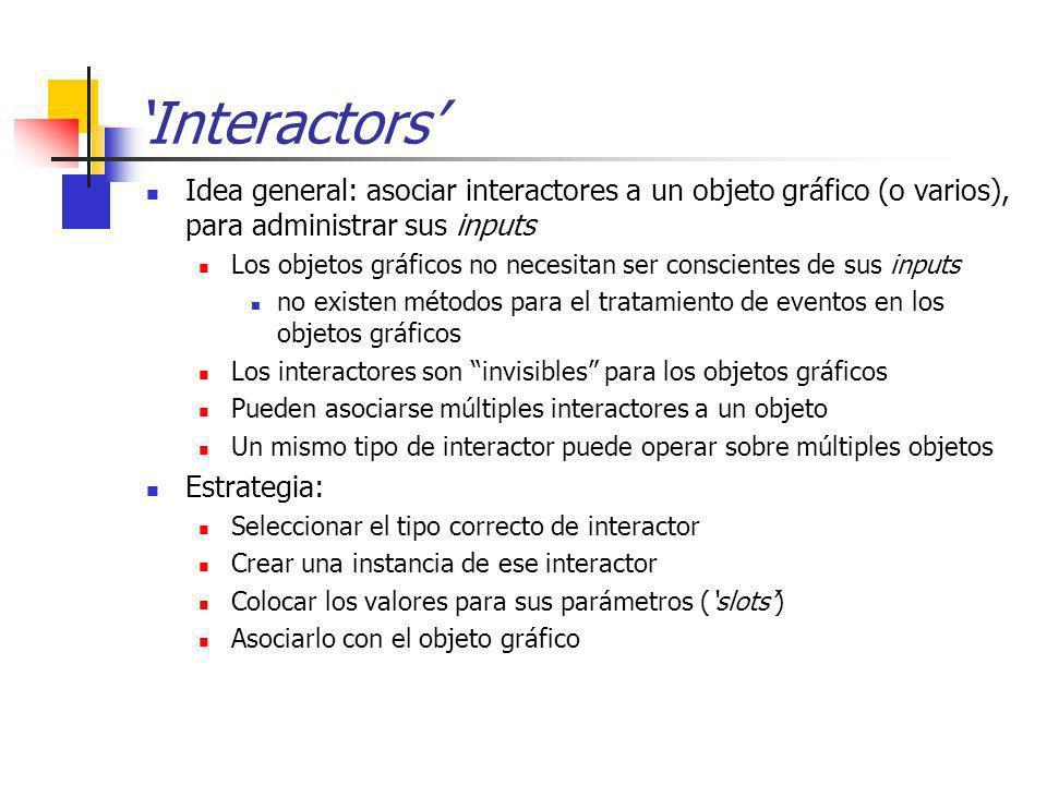 'Interactors' Idea general: asociar interactores a un objeto gráfico (o varios), para administrar sus inputs.
