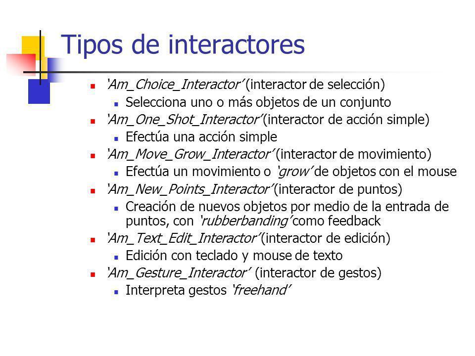 Tipos de interactores 'Am_Choice_Interactor' (interactor de selección)
