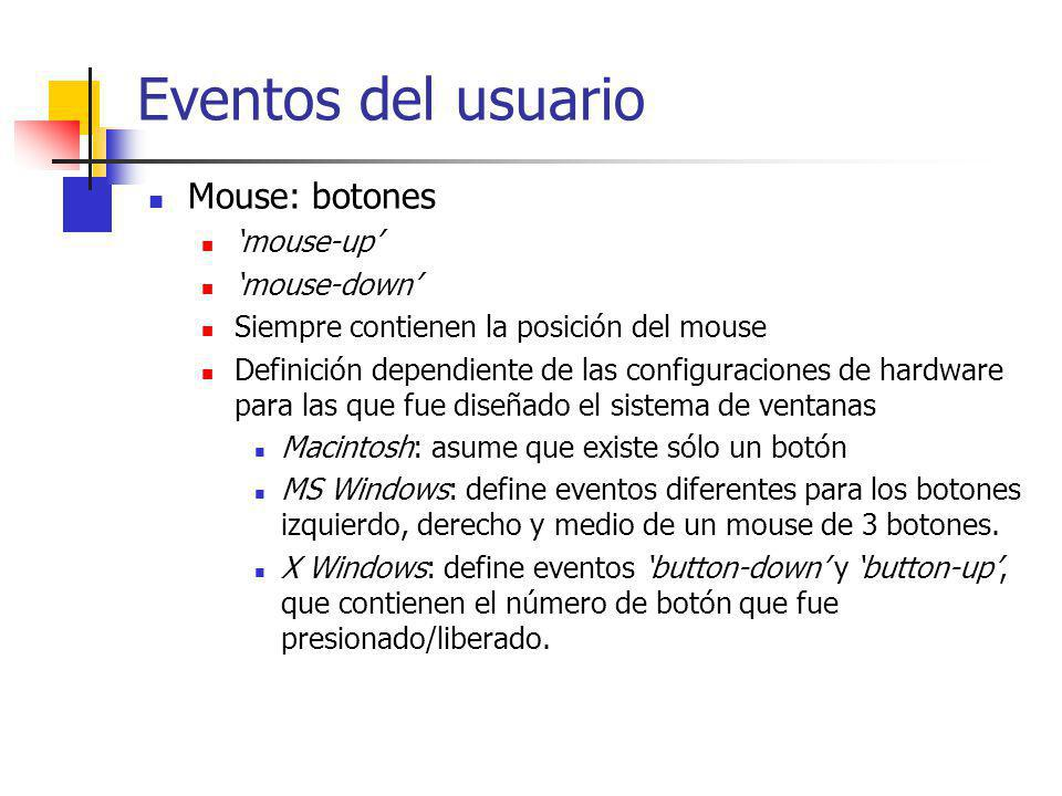 Eventos del usuario Mouse: botones 'mouse-up' 'mouse-down'