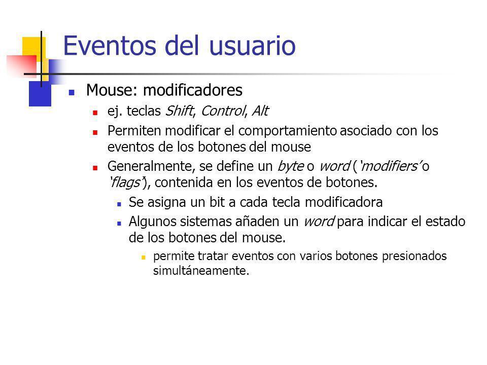 Eventos del usuario Mouse: modificadores