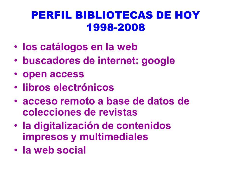 PERFIL BIBLIOTECAS DE HOY 1998-2008
