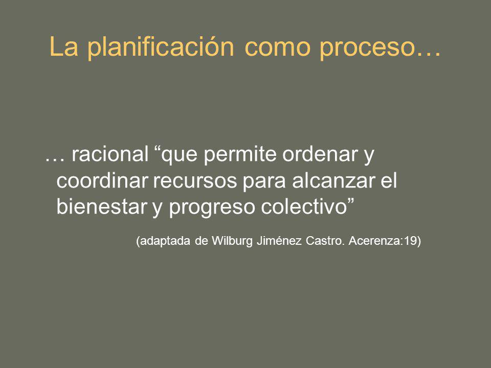La planificación como proceso…