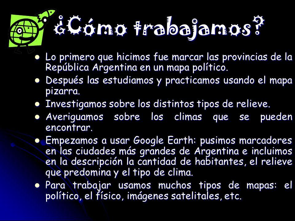 ¿Cómo trabajamos Lo primero que hicimos fue marcar las provincias de la República Argentina en un mapa político.