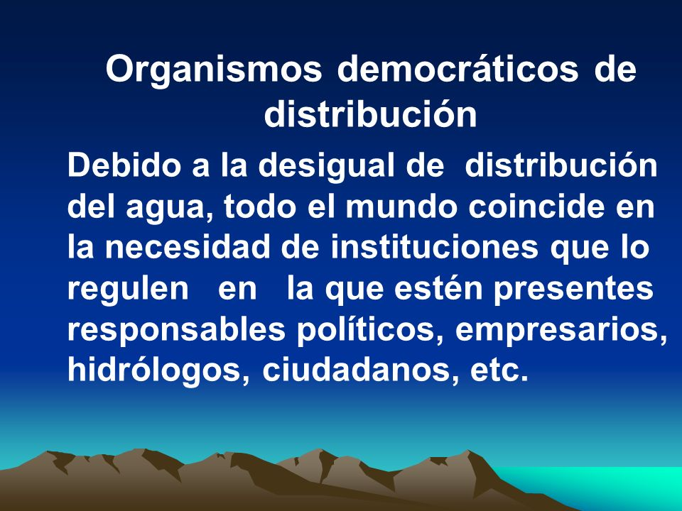 Organismos democráticos de distribución