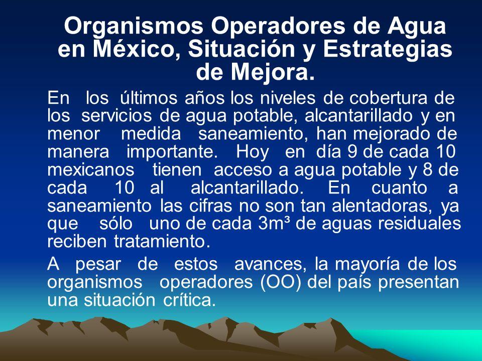 Organismos Operadores de Agua en México, Situación y Estrategias de Mejora.