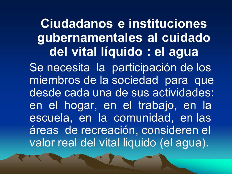 Ciudadanos e instituciones gubernamentales al cuidado del vital líquido : el agua