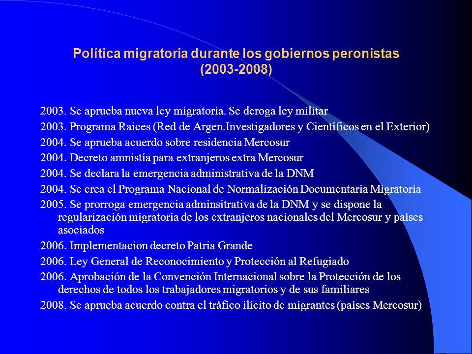 Política migratoria durante los gobiernos peronistas (2003-2008)