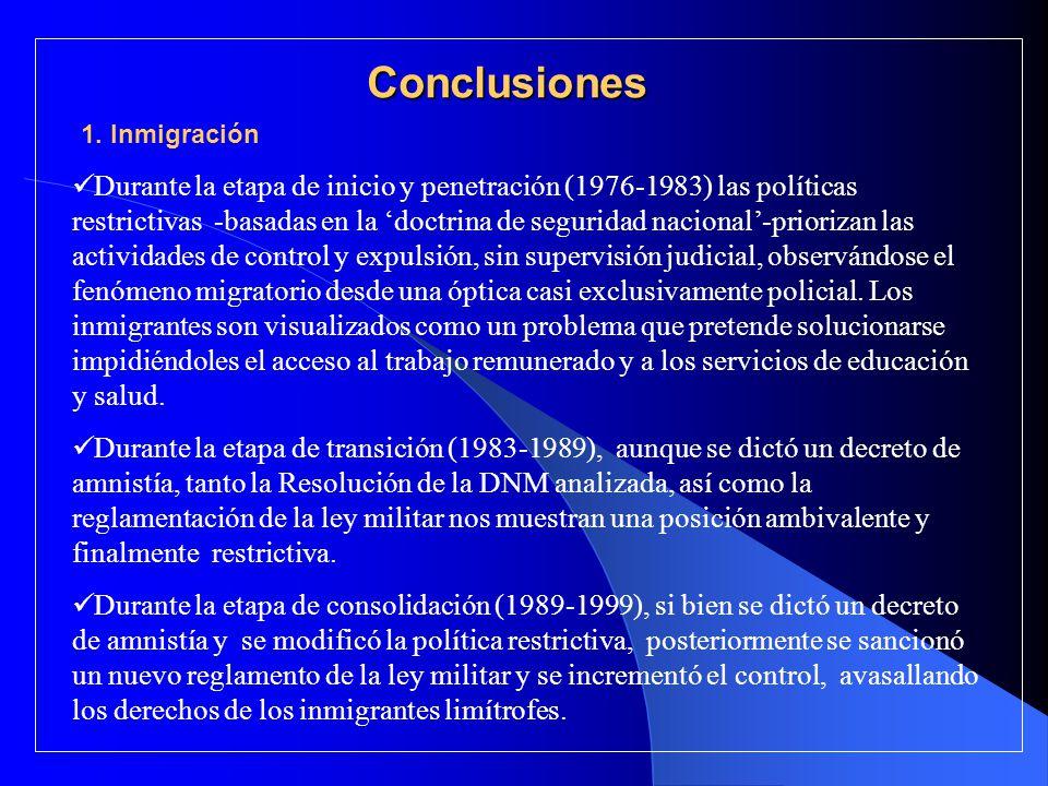 Conclusiones 1. Inmigración.