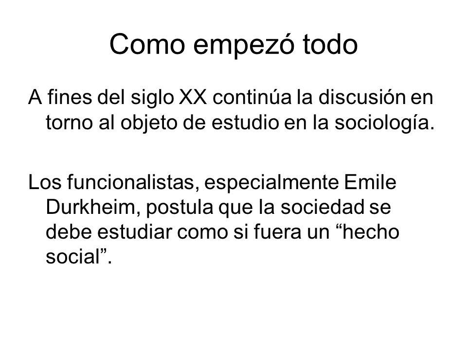Como empezó todo A fines del siglo XX continúa la discusión en torno al objeto de estudio en la sociología.