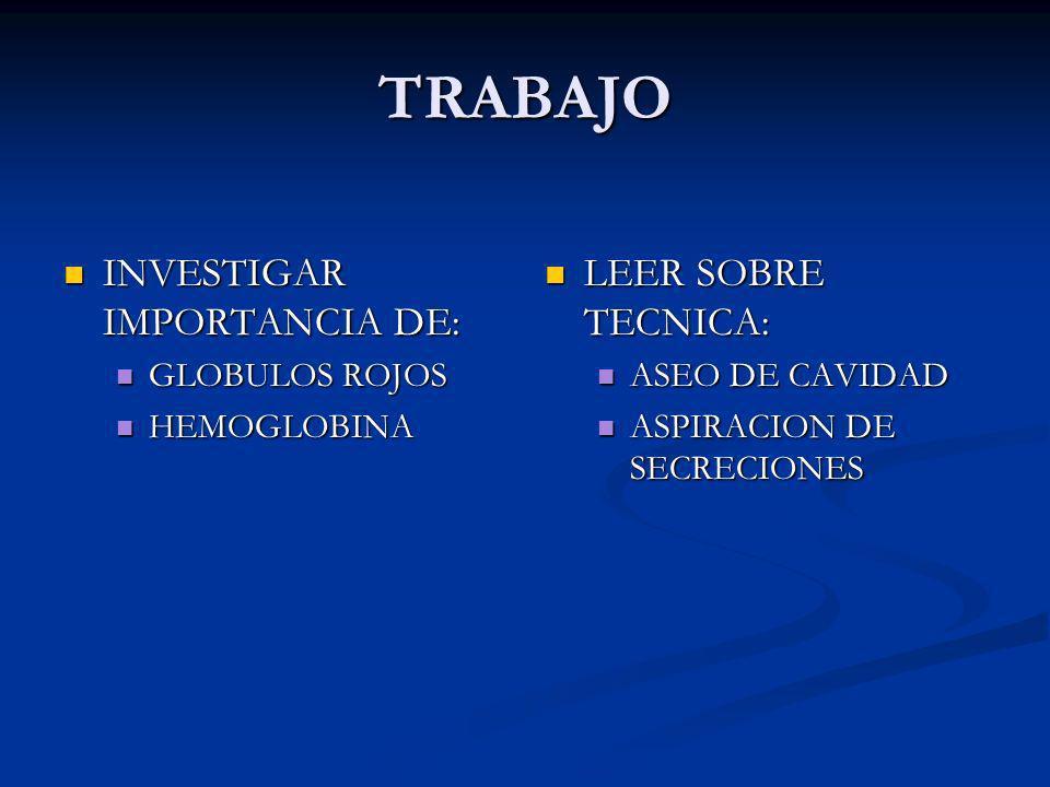 TRABAJO INVESTIGAR IMPORTANCIA DE: LEER SOBRE TECNICA: GLOBULOS ROJOS