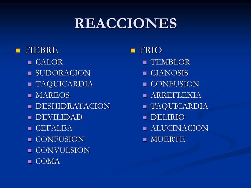 REACCIONES FIEBRE FRIO CALOR SUDORACION TAQUICARDIA MAREOS