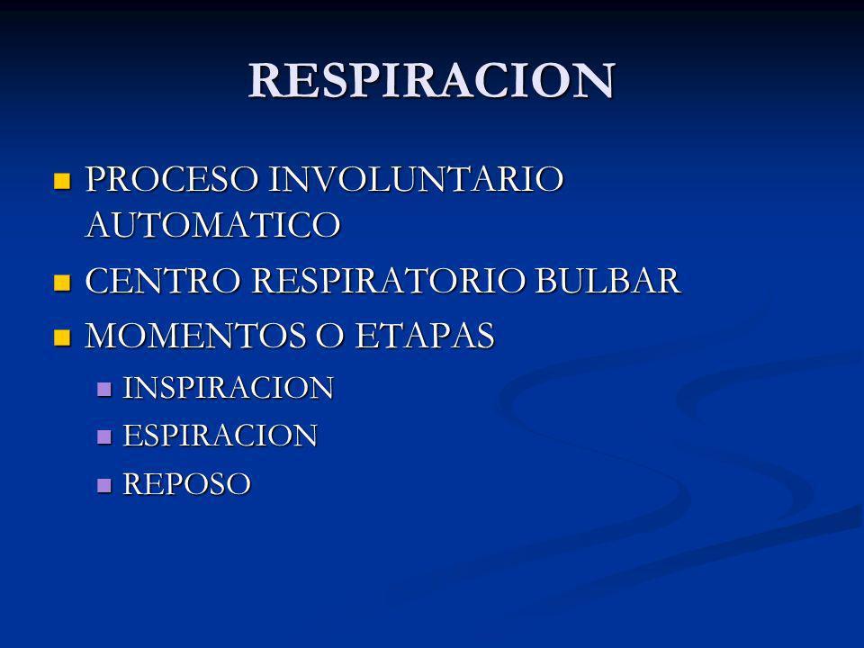 RESPIRACION PROCESO INVOLUNTARIO AUTOMATICO CENTRO RESPIRATORIO BULBAR
