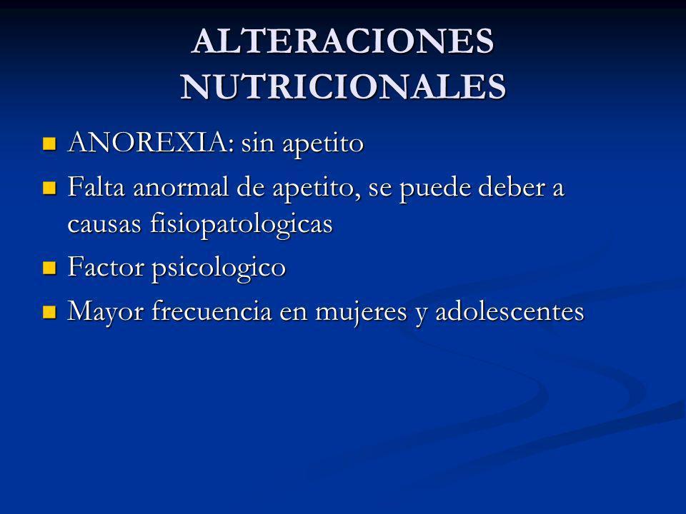 ALTERACIONES NUTRICIONALES