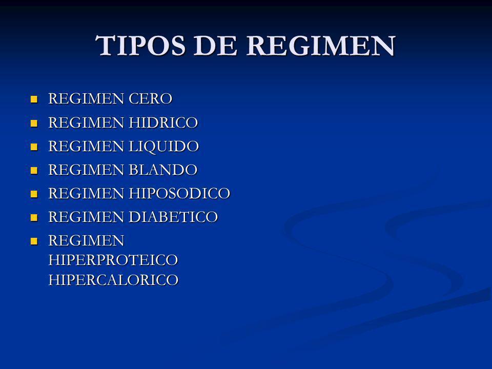 TIPOS DE REGIMEN REGIMEN CERO REGIMEN HIDRICO REGIMEN LIQUIDO