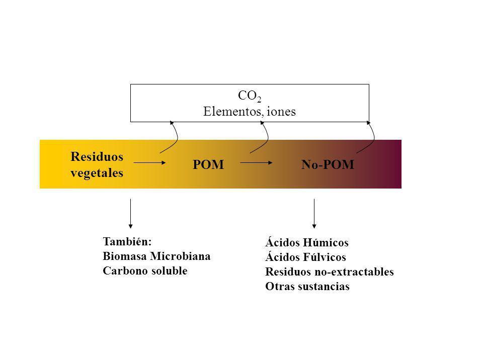 Residuos vegetales POM No-POM CO2 Elementos, iones También: