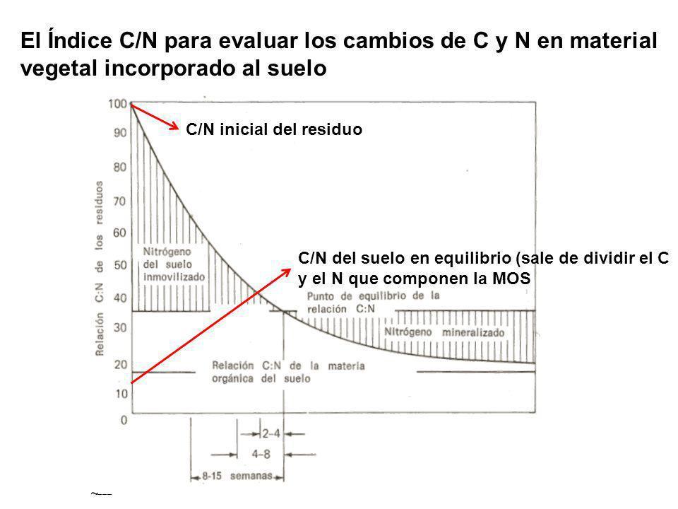 El Índice C/N para evaluar los cambios de C y N en material vegetal incorporado al suelo