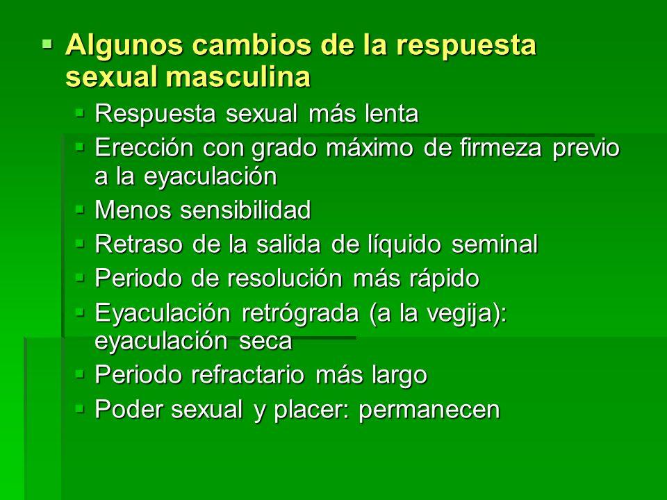 Algunos cambios de la respuesta sexual masculina