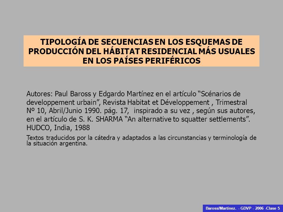 TIPOLOGÍA DE SECUENCIAS EN LOS ESQUEMAS DE PRODUCCIÓN DEL HÁBITAT RESIDENCIAL MÁS USUALES EN LOS PAÍSES PERIFÉRICOS