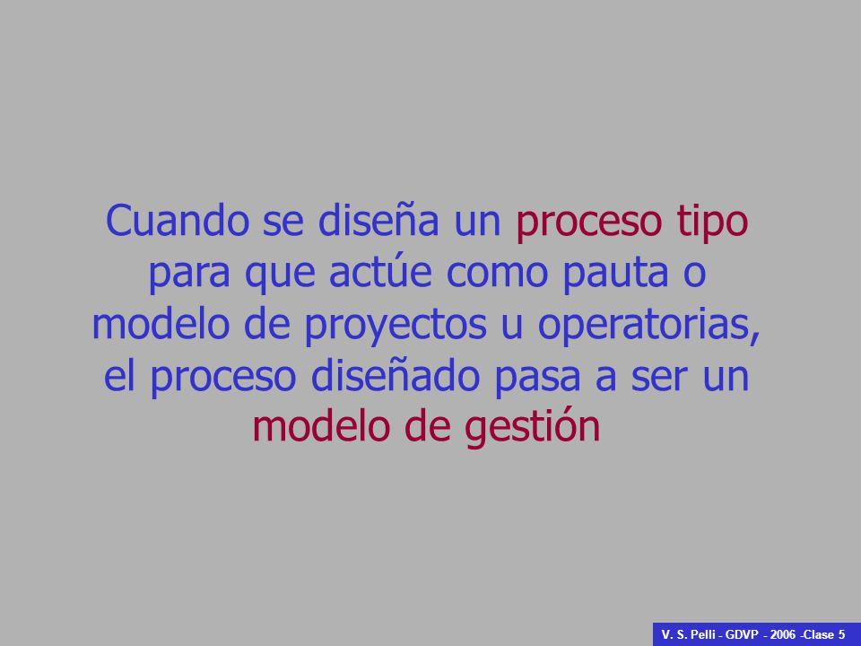 Cuando se diseña un proceso tipo para que actúe como pauta o modelo de proyectos u operatorias, el proceso diseñado pasa a ser un
