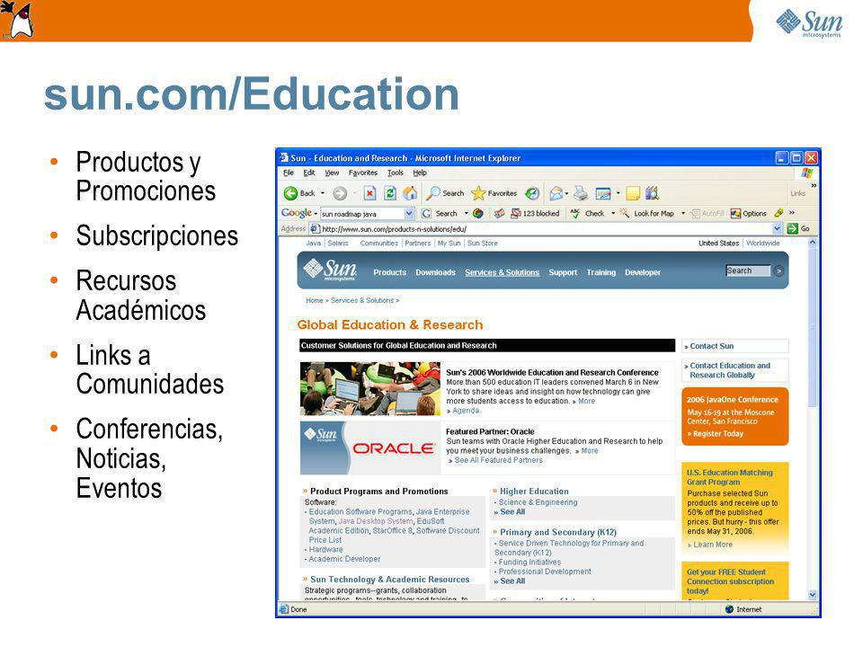 sun.com/Education Productos y Promociones Subscripciones