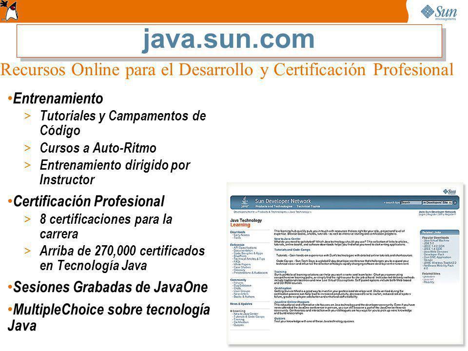 java.sun.com Recursos Online para el Desarrollo y Certificación Profesional. Entrenamiento. Tutoriales y Campamentos de Código.