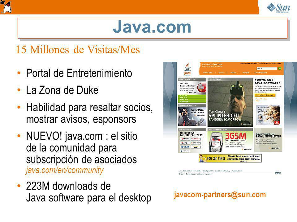 Java.com 15 Millones de Visitas/Mes Portal de Entretenimiento
