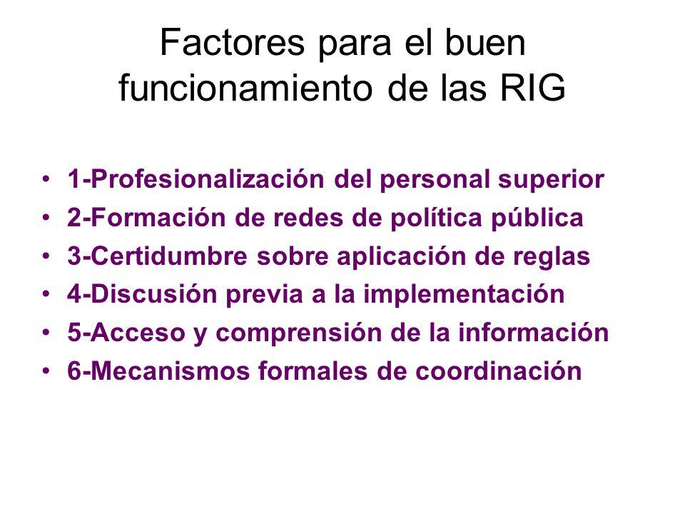 Factores para el buen funcionamiento de las RIG