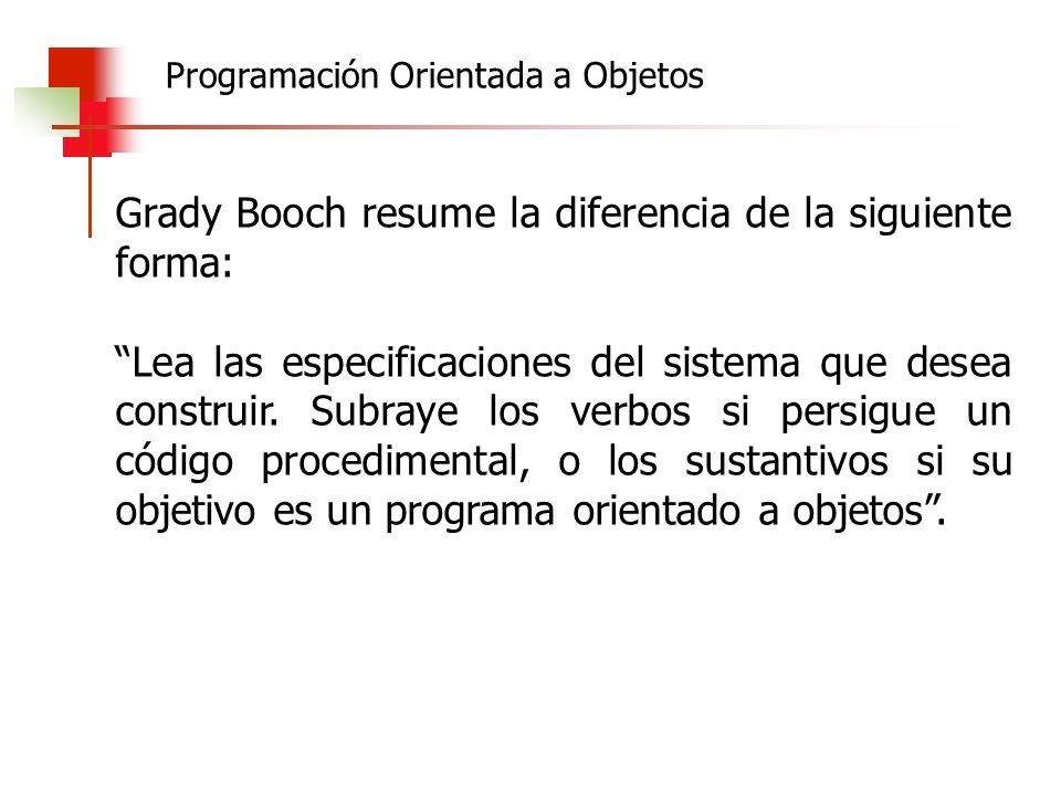 Grady Booch resume la diferencia de la siguiente forma: