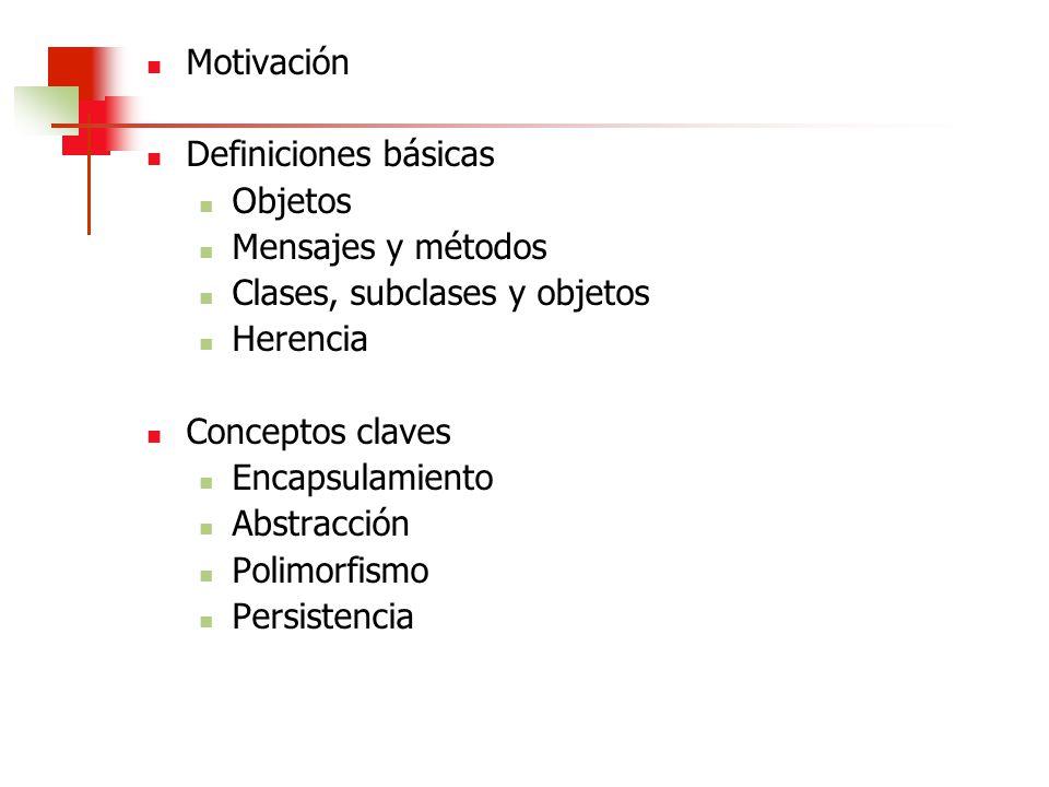 Clases, subclases y objetos Herencia Conceptos claves Encapsulamiento
