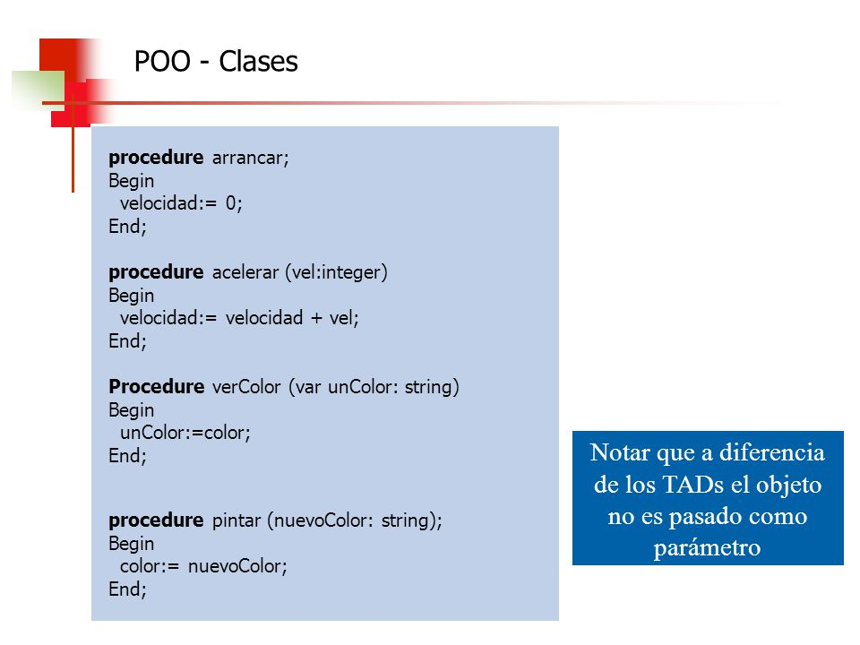 POO - Clases procedure arrancar; Begin. velocidad:= 0; End; procedure acelerar (vel:integer) velocidad:= velocidad + vel;