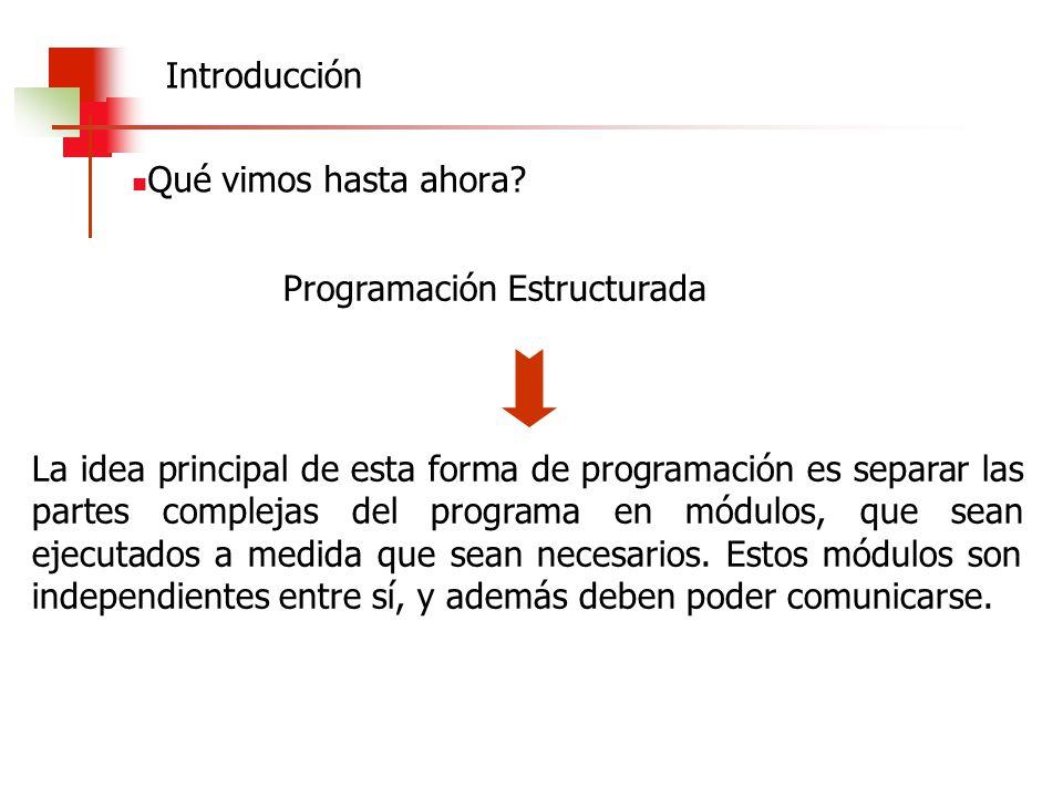 Introducción Qué vimos hasta ahora Programación Estructurada.