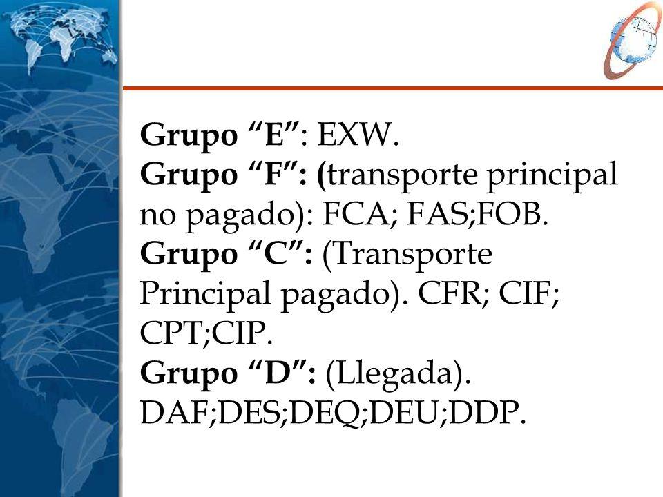 Grupo E : EXW. Grupo F : (transporte principal no pagado): FCA; FAS;FOB.