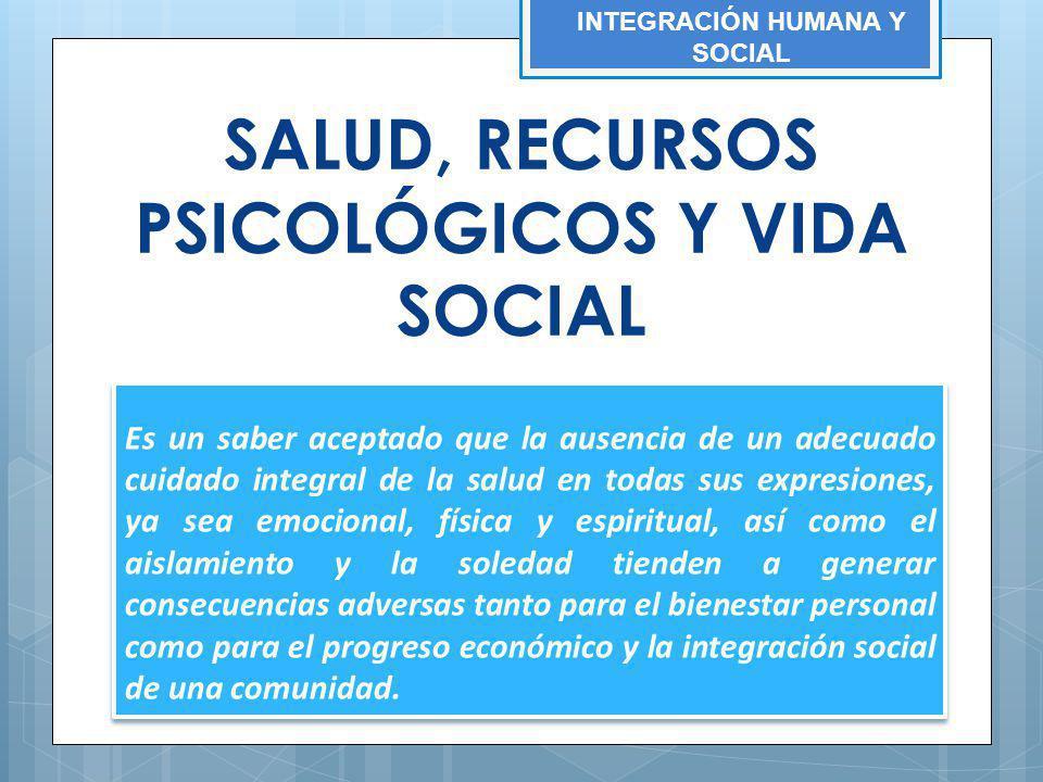 INTEGRACIÓN HUMANA Y SOCIAL SALUD, RECURSOS PSICOLÓGICOS Y VIDA SOCIAL