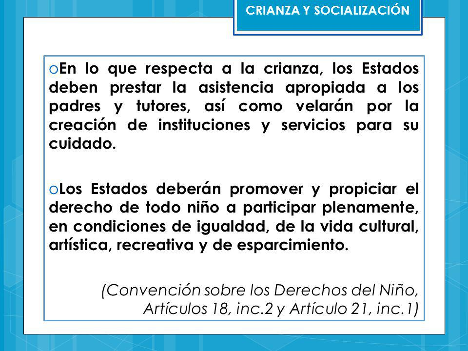 CRIANZA Y SOCIALIZACIÓN